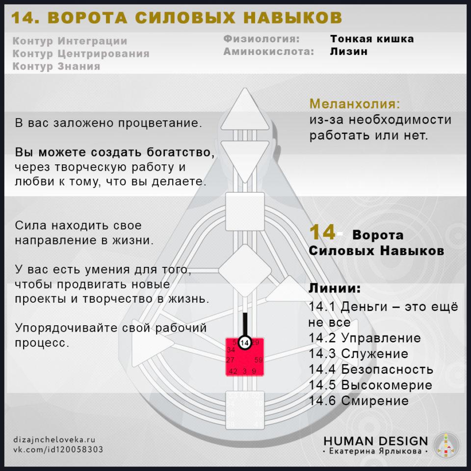 14 Ворота Human Design — Дизайн Человека. ВОРОТА 14 — Ворота Богатства, Силовых Навыков, Рабства, Трудоголизма