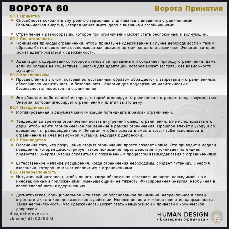 ⭐️⭐️⭐️⭐️⭐️ 60 ВОРОТА Human Design — Дизайн Человека. ✅Ворота 60 – Ворота Принятия (Шпаргалка).