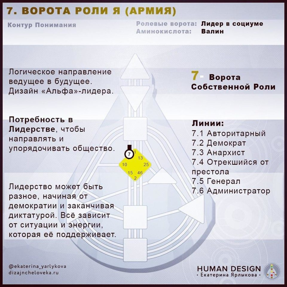 7 Ворота Human Design — ВОРОТА АРМИИ ИЛИ РОЛИ Я (Дизайн Человека)
